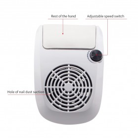 JUAWA Vacuum Cleaner Kuku Nail Dust Suction Cleaner Manicure Machine 60W - 858-9 - White - 4