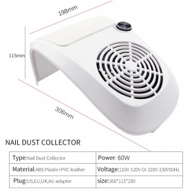 JUAWA Vacuum Cleaner Kuku Nail Dust Suction Cleaner Manicure Machine 60W - 858-9 - White - 5