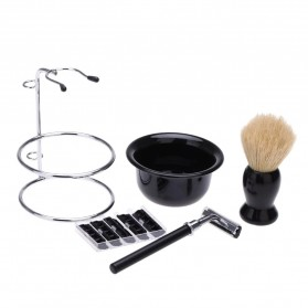 YINTAL Silet Pencukur Jenggot Perlengkapan Barber Razor With Brush Holder - Black