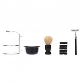YINTAL Silet Pencukur Jenggot Perlengkapan Barber Razor With Brush Holder - Black - 2