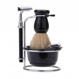 YINTAL Silet Pencukur Jenggot Perlengkapan Barber Razor With Brush Holder - Black - 3
