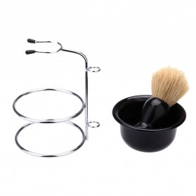 YINTAL Silet Pencukur Jenggot Perlengkapan Barber Razor With Brush Holder - Black - 5