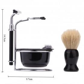 YINTAL Silet Pencukur Jenggot Perlengkapan Barber Razor With Brush Holder - Black - 6
