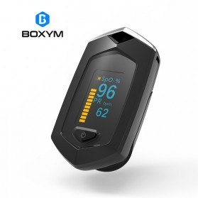 BOXYM Alat Pengukur Detak Jantung Kadar Oksigen Fingertip Pulse Oximeter USB Rechargeable - BX-81 - Black