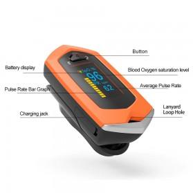 BOXYM Alat Pengukur Detak Jantung Kadar Oksigen Fingertip Pulse Oximeter USB Rechargeable - BX-81 - Black - 10