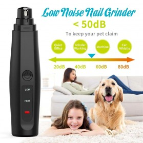 Ldoge Gunting Kuku Anjing Kucing Elektrik Charging Pet Nail Grinder Polisher - LX01 - Black