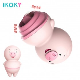 LILO IKOKY Vibrator Cute Pig Tongue Lick Vibrators Alat Pijat Elektrik Multifungsi - HL-1907 - Pink - 1
