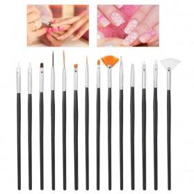 NelBeauty Brush Kutek Kuku Pro Nail Art Dotting Tools 15 PCS - N1800 - Black