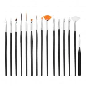 NelBeauty Brush Kutek Kuku Pro Nail Art Dotting Tools 15 PCS - N1800 - Black - 2