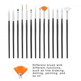 NelBeauty Brush Kutek Kuku Pro Nail Art Dotting Tools 15 PCS - N1800 - Black - 4
