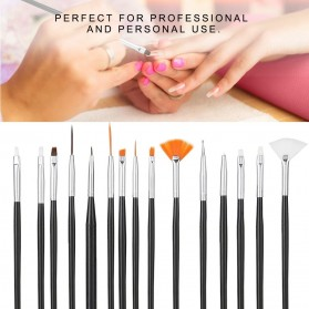 NelBeauty Brush Kutek Kuku Pro Nail Art Dotting Tools 15 PCS - N1800 - Black - 5