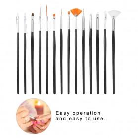 NelBeauty Brush Kutek Kuku Pro Nail Art Dotting Tools 15 PCS - N1800 - Black - 6