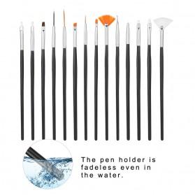 NelBeauty Brush Kutek Kuku Pro Nail Art Dotting Tools 15 PCS - N1800 - Black - 7