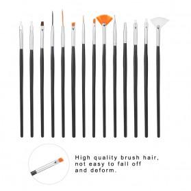 NelBeauty Brush Kutek Kuku Pro Nail Art Dotting Tools 15 PCS - N1800 - Black - 8