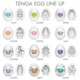 Tenga Pijat Tubuh Telur Pria Silicone Vacuum Penetration Egg 6PCS - EA911 - White - 2