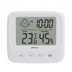 Dekorasi Rumah - Amvolta Jam Digital Temperature Humidity Meter Clock Station - CX-0828 - White
