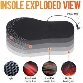 Amduine Alas Kaki Sepatu USB Heated Insole Gel Pad Warm Thermal Size 41-46 - WJ014 - Black - 5