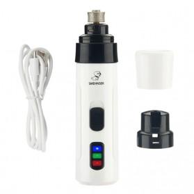 Smehnser Gunting Kuku Anjing Kucing Elektrik Charging Pet Nail Grinder Polisher - LX08 - White