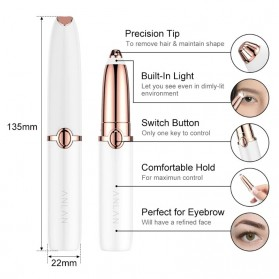 ANLAN XMB06 Alat Pencukur Alis Electric Portable Eyebrow Shaver - ALXMB06-02 - White - 18