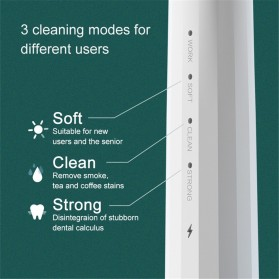 Xiaomi Dr. BEI Pembersih Gigi Ultrasonic Electric Dental Calculus Tartar Remover Teeth Scraper - YC2 - White - 5