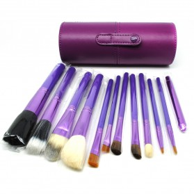 Kuas Make Up 12 Set dengan Case - MAG5171 - Purple