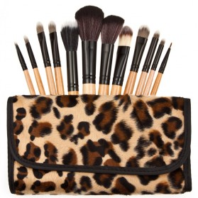 Brush Make Up Kosmetik 12 Set dengan Sarung Leopard - Brown