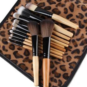 Brush Make Up Kosmetik 12 Set dengan Sarung Leopard - Brown - 2