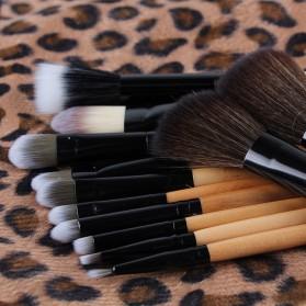 Brush Make Up Kosmetik 12 Set dengan Sarung Leopard - Brown - 3
