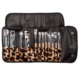 Brush Make Up Kosmetik 12 Set dengan Sarung Leopard - Brown - 4