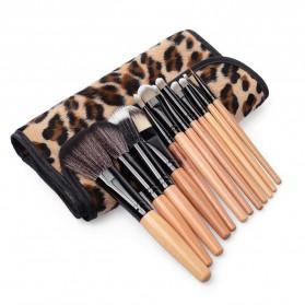 Brush Make Up Kosmetik 12 Set dengan Sarung Leopard - Brown - 5