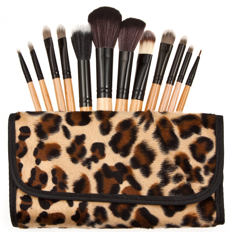 Brush Make Up Kosmetik 12 Set dengan Sarung Leopard - Brown - 1