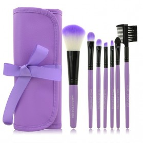 Kuas Make Up 7 Set dengan Case Kulit - Purple
