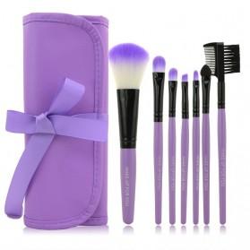 Kuas Make Up 7 Set dengan Case Kulit - Purple