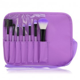 Kuas Make Up 7 Set dengan Case Kulit - Purple - 2
