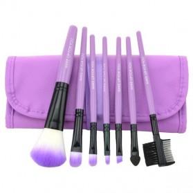 Kuas Make Up 7 Set dengan Case Kulit - Purple - 3