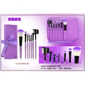 Kuas Make Up 7 Set dengan Case Kulit - Purple - 4