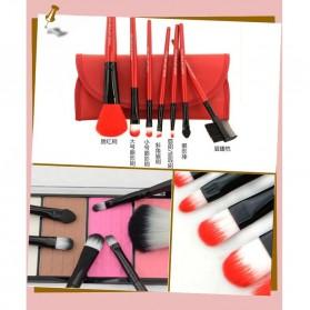 Kuas Make Up 7 Set dengan Case Kulit - Purple - 5