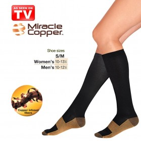 Miracle Copper Socks Stovepipe Healthy S/M Size / Kaos Kaki Kesehatan - Black