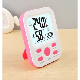 Digital Multifunction Thermometer and Hygrometer with Clock Alarm - JP9906 - Pink