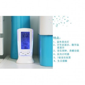 LED Night Light Backlight Alarm Clock with Temperature - 510 - White - 2