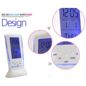 LED Night Light Backlight Alarm Clock with Temperature - 510 - White - 8