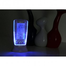LED Night Light Backlight Alarm Clock with Temperature - 510 - White - 9