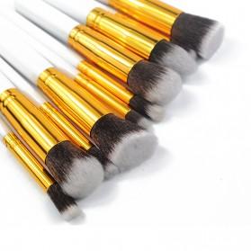 Biutte.co Kuas Make Up Wajah 10 PCS - MAG5167 - White/Gold - 3