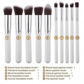 Biutte.co Kuas Make Up Wajah 10 PCS - MAG5167 - White/Gold - 4