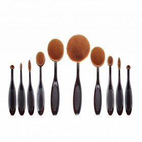 Kuas Kosmetik Make Up Oval Brush Wajah 10 PCS - Black