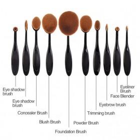 Kuas Kosmetik Make Up Oval Brush Wajah 10 PCS - Black - 2