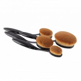 Kuas Kosmetik Make Up Oval Brush Wajah 10 PCS - Black - 3