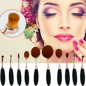 Kuas Kosmetik Make Up Oval Brush Wajah Tangkai Besi 10 PCS - Black Gold