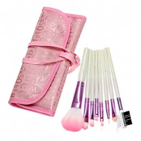 Brush Make Up 8 Set dengan Pouch - Pink