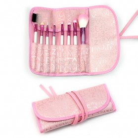 Brush Make Up 8 Set dengan Pouch - Pink - 6